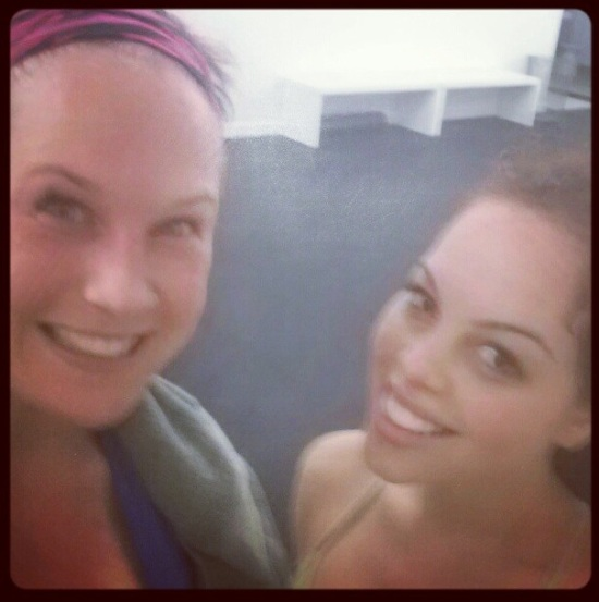 Danny and me sweating profusely after taking our first Flywheel Sports cycle class.